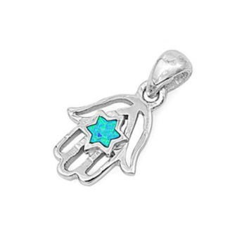 "Sterling Silver Lab Blue Opal Hamsa Star of David Pendant 19MM (Free 18"" Chain)"