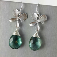 Aqua Green Quartz Earrings, Orchid, Wedding Earrings, Bridesmaids Earrings, Gemstone Earrings, Unique Bridesmaid Gift, Christmas Gift, Trend