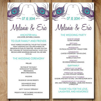 Peacock Wedding Program Template Download | Turquoise Purple Peacock Feathers Ceremony Program | Printable Tea Length Wedding Program