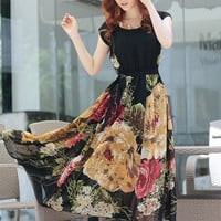 Black and Apricot Floral Short Sleeve Pleated Chiffon Maxi Dress
