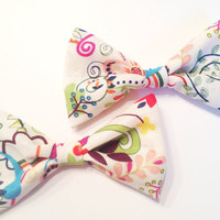 White Abstract Floral Mini Bows (set of two)