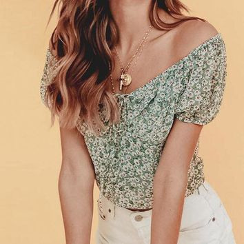 Off Shoulder Sexy Floral Print Tops Shirt Women Vintage Square Collar Mujer Puff Shirt