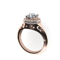 Rose Gold Edwardian Diamond Sapphire Engagement Ring 14K Rose Gold with 7mm Round White Sapphire Ctr Fine Jewelry Holiday Gift  - V1031
