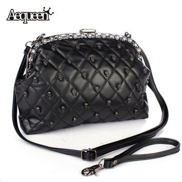 2016 Halloween Women Skull Shoulder Bag Lady Satchel Plaid Rhinestone Handbag Preppy Rivet Flap Shell Criss-Cross Evening Bags