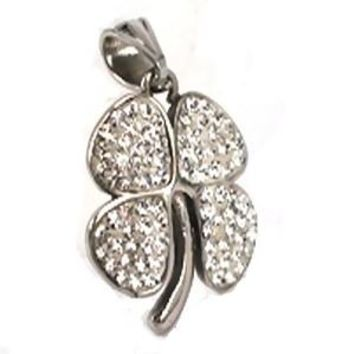 Stainless Steel 4 Leaf Clover with Clear Crystals Pendant