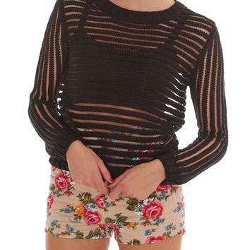 Spread Love Open Knitted Top - Black