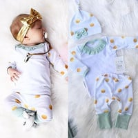 Newborn Baby Boys Girls T-shirt Tops Long Sleeve + Pants Leggings Hat 3pcs Clothing Baby Clothing Dots Outfit Set Clothes