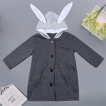 Spring Autumn children's clothing kids hooded jacket baby Stitching Hooded with Rabbit Ears Baby Coat Jacket Kids Clothing