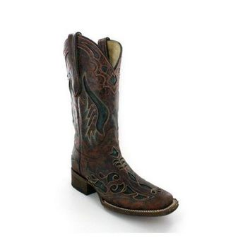 ICIKAB3 Corral Cognac And Olive Inlay Cowgirl Square Toe Boots A1040