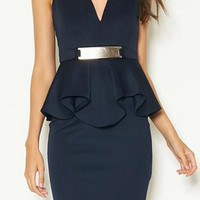 V-Neck Sleeveless Peplum Dress