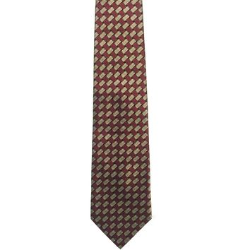 Kenneth Cole New York Foulard Wide Silk Tie - Burgundy/Silver
