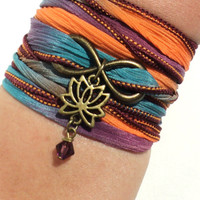 Infinity Lotus Silk Wrap Bracelet Yoga Jewelry Namaste Upper Arm Eternity Love Etsy Forever New Beginnings Stocking Stuffer Yogi Gift M8