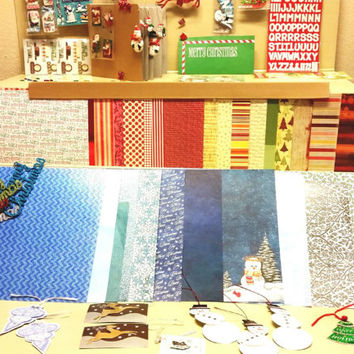 Everything you need to make a scrapbook for Christmas or holidays. Including the 9 x 9 scrapbook , stickers, scrapbook paper and more.