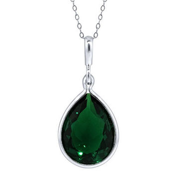 8.25 Ct Pear Shape Simulated Emerald 925 Sterling Silver Pendant With Chain