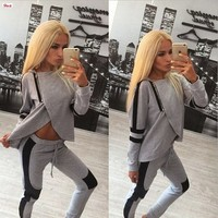 Spring Ladies Hooded Long-sleeved Sports Suits   Irregular Breast Patchwork Leisure Sweatshirts setsTracksuits for