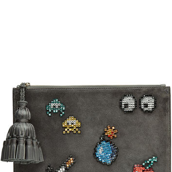 Anya Hindmarch - Embellished Suede Georgiana Space Invaders Clutch