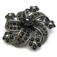 Faux Onyx Stone and Marcasite Floral Brooch - Black and Silver Tone Unique Flower Pinwheel Pin - Unusual Statement Mourning Brooch