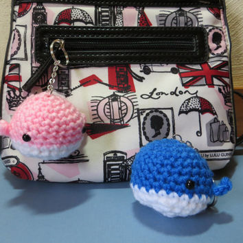 Kawaii Blue or Pink Whale Crochet Keychain Plush Toy