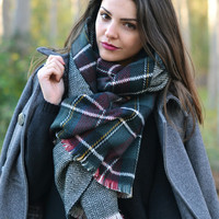 Deep Green Plaid Raw Edge Scarf