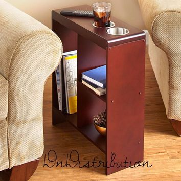 Walnut Brown Slim Space Saver End Table Wooden Narrow Drink Holders Shelving