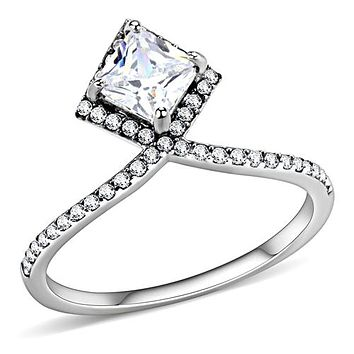 1.3CT Princess Cut Halo Russian Lab Diamond Bridal Set Wedding Band Ring