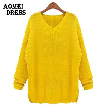 Sweater for women Fashion Autumn Crochet knitted pullovers Female Yellow jumper Clothing