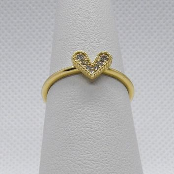 Luxinelle Diamond Heart Ring 14K Yellow Gold - 0.07 TCW Promise Ring by Luxinelle®Jewelry