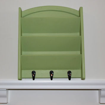 Cottage chic mail holder with key hooks, hand-painted in custom Annie Sloan mint green chalk paint color