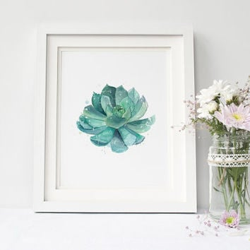 Cactus plant, succulent print, home wall art, garden printable, cactus watercolor, botanical print instant download