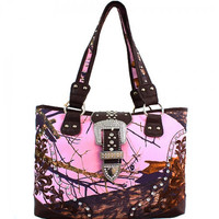 Mossy Oak® Rhinestone Studded Buckle Embroidered Western Tote Bag