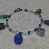 Clear, Blue and Green Glass Bead Bracelet
