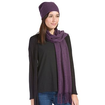 Women's 2pc 100% Cashmere Slouchy Beanie & Knit Scarf Set with Gift Box
