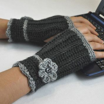 Fingerless Glove Wrist Warmer Gauntlet Charcoal Gray