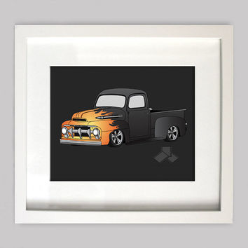 Black 51 Ford Truck 8x10 Old Truck Illustration for Boys Room Decor, Nursery Wall Art, Boys Room Art, or Toddler Boys Room(Digtial Download)