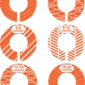 Custom Baby Closet Dividers Boy Girl Geometric Orange Nursery Closet Divider Baby Shower Gift Baby Clothes Organizers Baby Nursery Organizer
