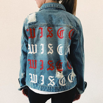 University of Wisconsin Hand Painted Denim Jacket