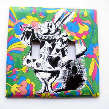 Double Light Switch Cover - Light Switch Plate White Rabbit Alice In Wonderland
