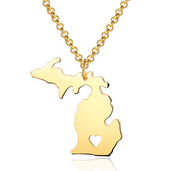 I heart Michigan Necklace - Michigan Pendant - State Necklace - State Charm - Map necklace