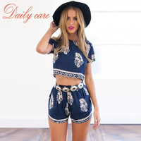 Chic Two Piece set Print Short Sleeve Blouse + Romper Shorts  Fashion Lady sets