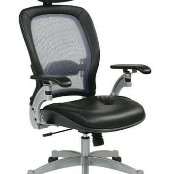 Office Star Professional Light AirGrid® Back Chair with Adjustable Headrest and Platinum Finish Accents Cantilever Arms and V-Back Support [36806]