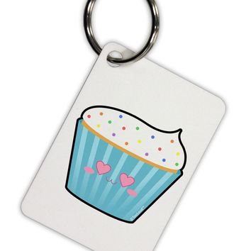 Cute Cupcake with Sprinkles - Heart Eyes Aluminum Keyring Tag by TooLoud
