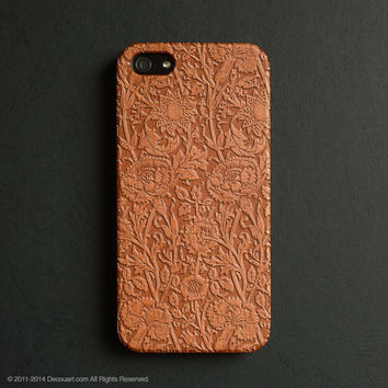 Real wood engraved floral pattern iPhone case S005