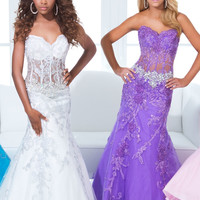Fit and Flare Lace Bodice Sweetheart Neckline Formal Prom Dress By Tony Bowls 114734