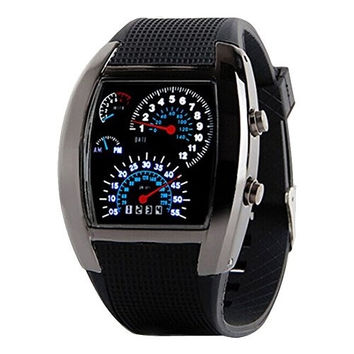 DAYAN Flash Digital LED Mens Sports Military Watch Wrist Watch Speedometer Style Black dial (Color: Black) = 1956580548