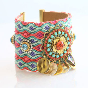 OOAK SS13 Luxury Flower Swarovski Friendship Bracelet Jewelry Ultra Wide Cuff,bohemian indian gypsy,Ethnic boho