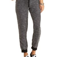 Marled Drawstring Sweatpants by Charlotte Russe - Black Combo