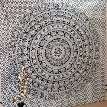 Indian Mandala Tapestry, Hippy Wall Hanging Throw Bedspread Dorm Tapestry Decorative Wall Hanging , Beach Sheet Coverlet Wall Art