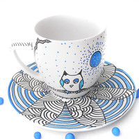 Owl hand painted teacup Waiting for my woman by CraftUnikat