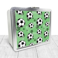 Green Soccer Lunch Box - Sports Soccer Ball Pattern on Green, Tin School Lunch Art Craft Supplies Box, Chalkboard inside - Made to Order