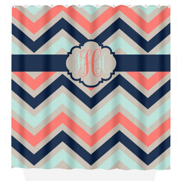Chevron SHOWER CURTAIN Custom MONOGRAM Personalized Chevron Bathroom Decor Coral Navy Aqua Colors Beach Towel Plush Bath Mat